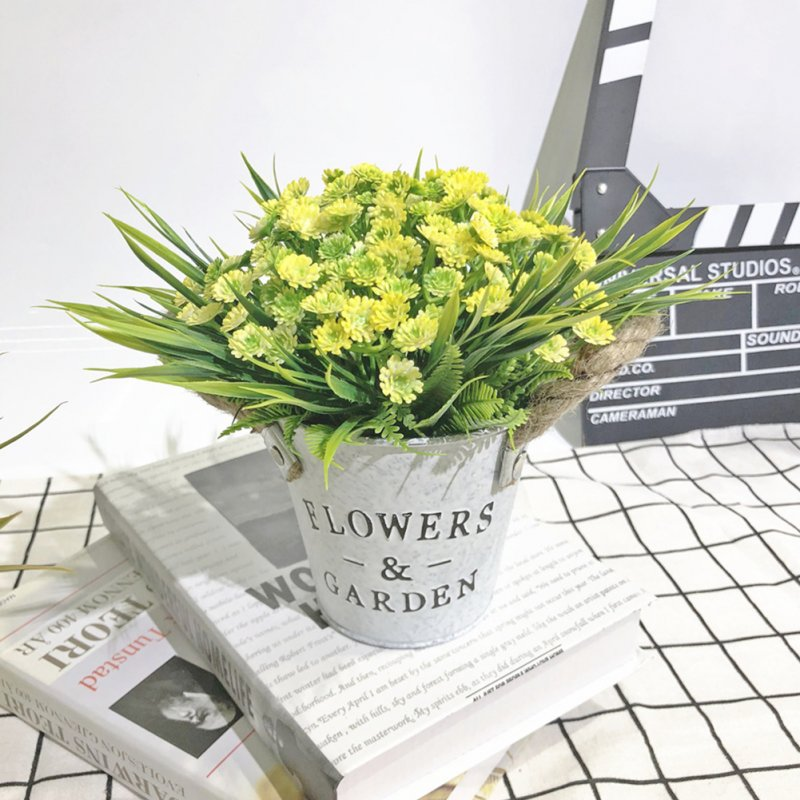 Artificial Babysbreath Plant Potted with Letters Printing Metal Bucket for Decoration yellow