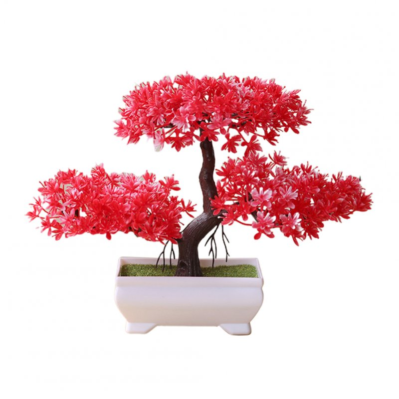 Artificial Chamaecyparis Pisifera Shape Plant Bonsai for Home Dinning Table Ornament red