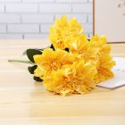 Artificial Dahlia Flower Bouquet with 6Heads for Home Wedding Background Wall Decor yellow