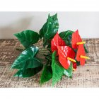 Artificial Flower Anthurium Bonsai Decoration for Balcony Garden Home Green + red