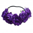 Artificial Flower Garland Rose Love Shape Wreath Headband Silk Rose Wedding Car Decor purple