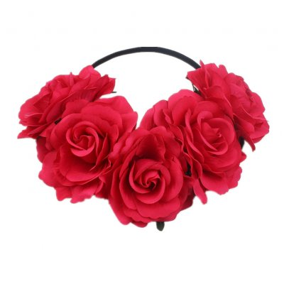 Artificial Flower Garland Rose Love Shape Wreath Headband Silk Rose Wedding Car Decor Rose red