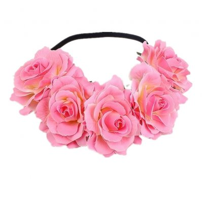 Artificial Flower Garland Rose Love Shape Wreath Headband Silk Rose Wedding Car Decor Deep pink