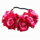 Artificial Flower Garland Rose Love Shape Wreath Headband Silk Rose Wedding Car Decor Colored rose