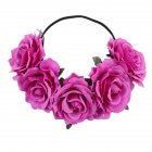 Artificial Flower Garland Rose Love Shape Wreath Headband Silk Rose Wedding Car Decor Light purple