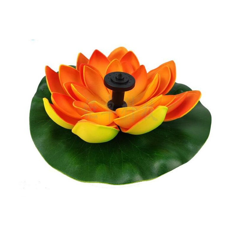 Artificial Fountains with LED Light Solar Powered Lotus Light Lamp with Water for Decoration Orange_R0903A