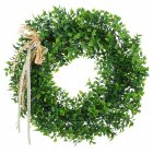 Door Hanging Leaf Wreath with Bow Decoration