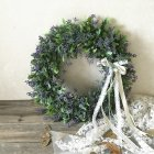 Artificial Leaf Wreath with Bow Decoration