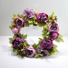 Artificial Peony Flower Garland Ornament for Christmas Wedding Door Decoration purple