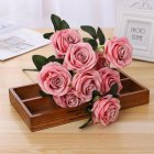 Artificial Rose Flower Bouquet with 10 Heads for Home Decor Wedding Props Jade pink