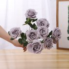 Artificial Rose Flower Bouquet with 10 Heads for Home Decor Wedding Props light grey