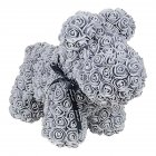 Artificial Rose Flowers Dog Shape Doll Toy Home Wedding Festival Birthday Party DIY Decoration gray