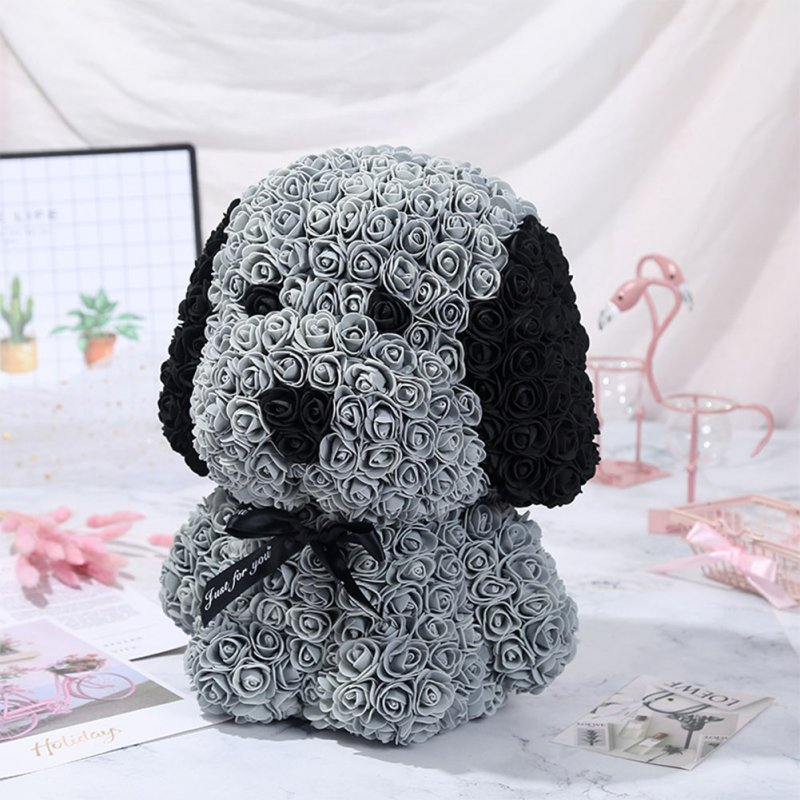 Artificial Rose Flowers Pug Shape Romantic Doll Toy for Festival Birthday Party DIY Decoration gray