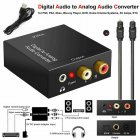 Audio Converter Digital Fiber Coaxial to Left and Right Channel 3.5mm Audio Analog Converter black