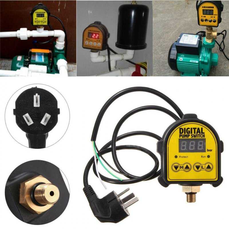 Automatic Digital Pressure Controller On Off Switch 220V for Water Ail Gas Pump English version 4 points external thread