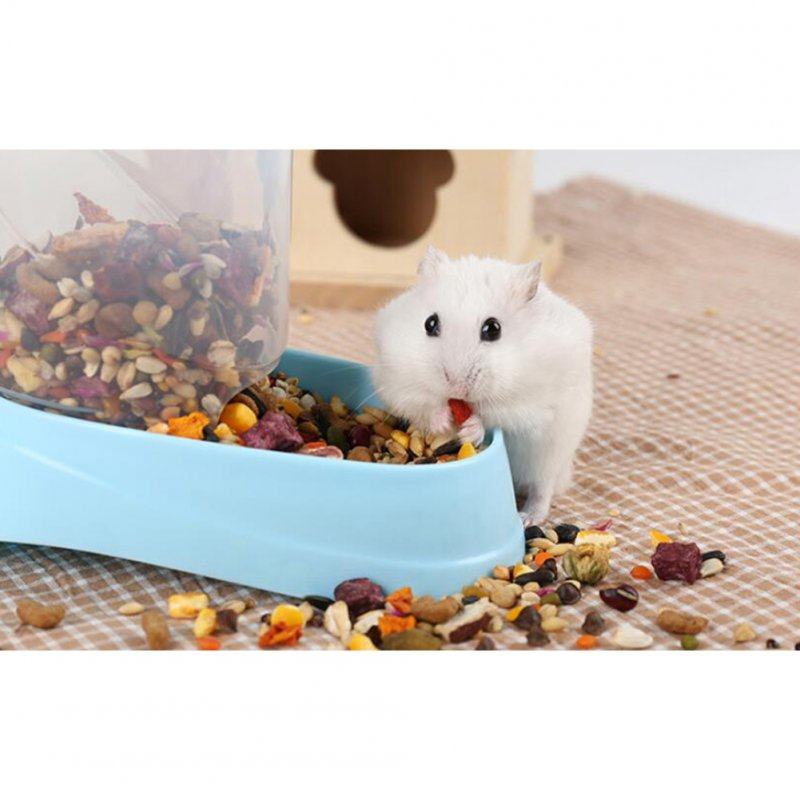 Automatic Food Dispenser for Pet Hamster Syrian Hamster Feeding Bowl blue