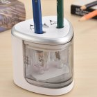 Automatic Two-hole Electric Pencil Sharpener Home Office School Supplies silver