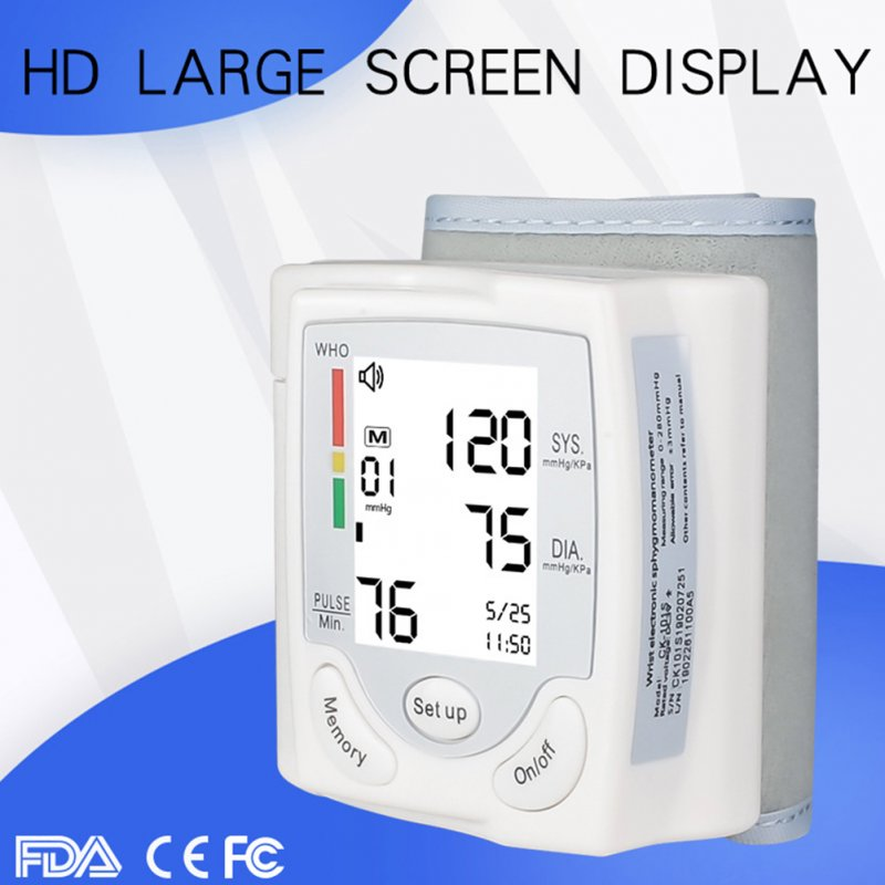 Automatic Voice Wrist Digital Blood Pressure Monitor Large LCD Screen Home Medical Care  white