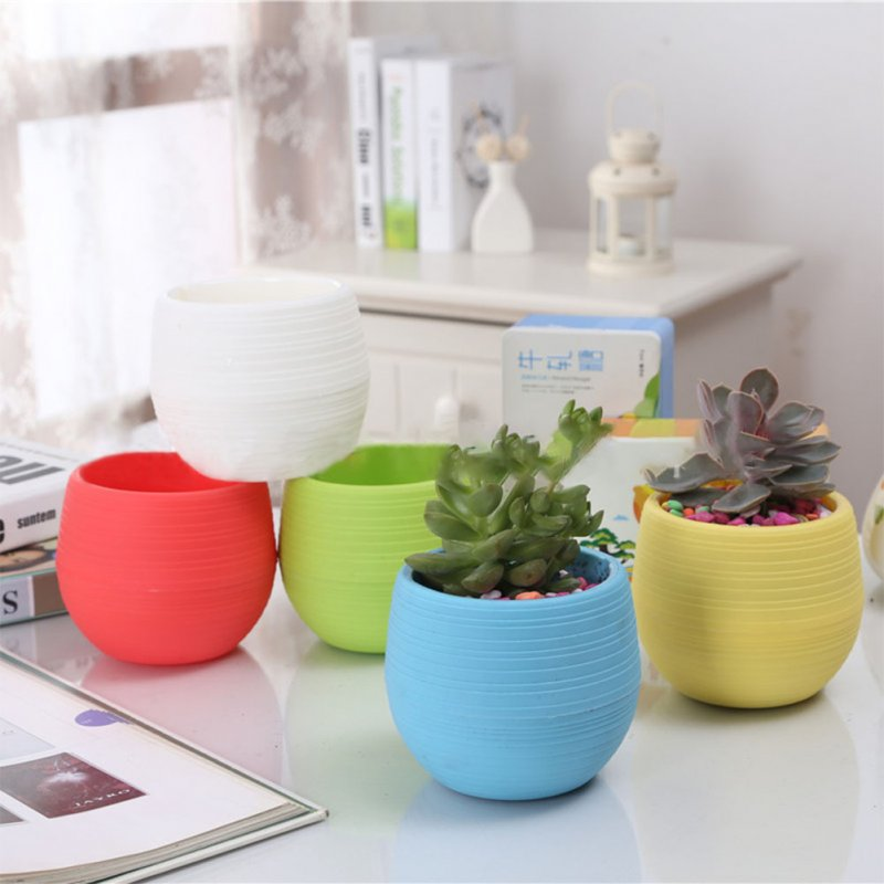 Automatic Water Absorbing Plastic Flowerpot Candy Colour Plant Pot Home Office Decoration Gift  yellow_6*6.6cm