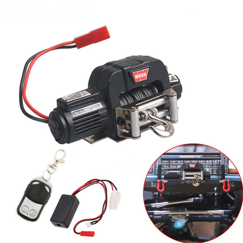 Automatic Winch Wireless Remote Controller Receiver for 1/10 RC Crawler Car Axial SCX10 TRAXXAS TRX4 D90 TF2 Tamiya CC01 Electric winch black + remote control