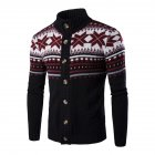 Autumn Winter Europe and America Style Christmas Male Single Jugged Base Shirt Cardigan Sweater black_M