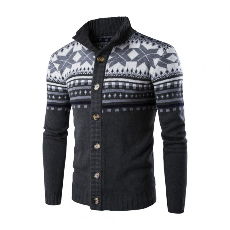 Autumn Winter Europe and America Style Christmas Male Single Jugged Base Shirt Cardigan Sweater Dark gray_XXL