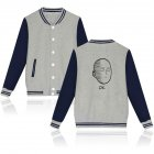 Autumn Winter Fashion Printing Baseball Uniform Coat LF-107ab-3 grey_XL