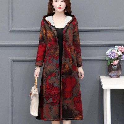 Autumn Winter Large Size Middle Age Mom Clothes Medium Overknee Printing Top Jacket 774 picture color_XXXL