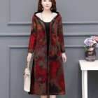 Autumn Winter Large Size Middle Age Mom Clothes Medium Overknee Printing Top Jacket 774 picture color_M
