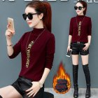 Autumn Winter THicken Simier Slim Half Collar Long Sleeve Base Shirt Female Top Wine red_M