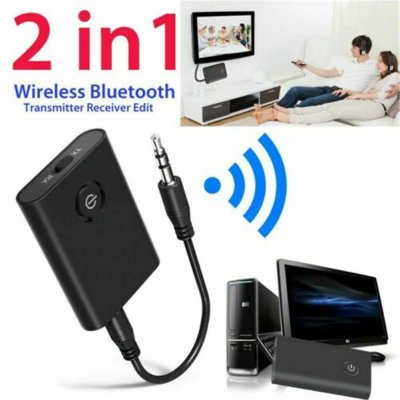 B10S Wireless Bluetooth 5.0 Transmitter & Receiver A2DP Audio 3.5mm Jack Aux Adapter black