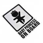 BABY PRINCESS ON BOARD Car Reflective Decals Warning Sticker black