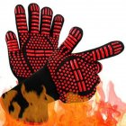 BBQ Grilling Cooking Gloves Extreme Heat Resistant Oven Welding Gloves Kitchen Tool Red ==_33CM