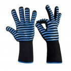 BBQ Grilling Cooking Gloves Extreme Heat Resistant Oven Welding Gloves Kitchen Tool Blue horizontal stripes 33CM