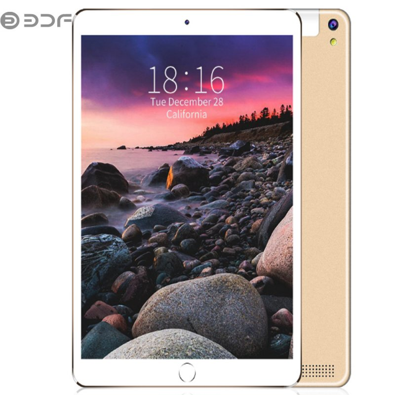 BDF 10.1 inch Tablet Computer MTK 6580 3G / 4G Call Tablet PC Android 7.0 5000mAh Battery Golden_Leather case-European regulations