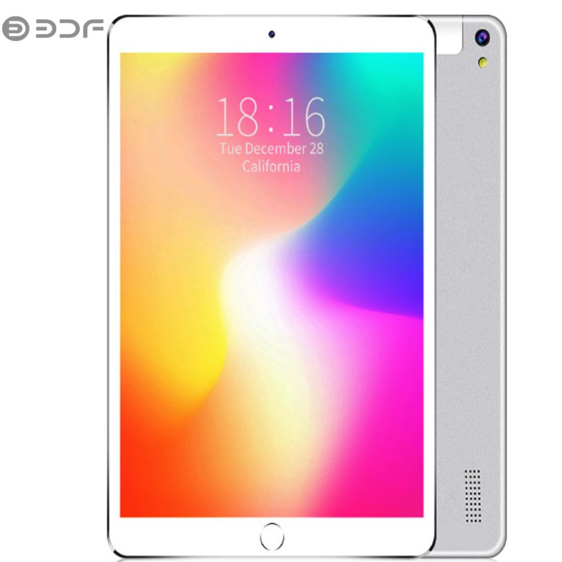 BDF 10.1 inch Tablet Computer MTK 6580 3G / 4G Call Tablet PC Android 7.0 5000mAh Battery Silver_With keyboard-European