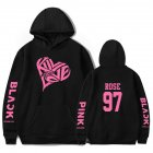 BLACKPINK 2D Pattern Printed Hoodie Leisure Pullover Top for Man and Woman Black 5 XXXL