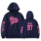 BLACKPINK 2D Pattern Printed Hoodie Leisure Pullover Top for Man and Woman Navy 5_M