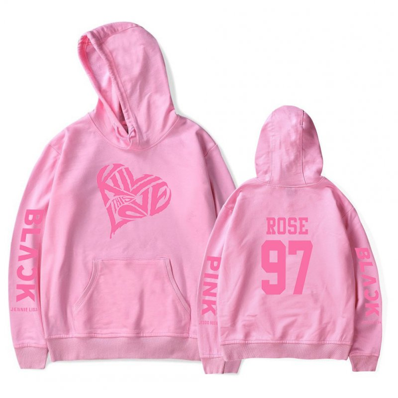 BLACKPINK 2D Pattern Printed Hoodie Leisure Pullover Top for Man and Woman Pink 5_L