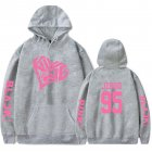 BLACKPINK 2D Pattern Printed Hoodie Leisure Pullover Top for Man and Woman gray_3XL