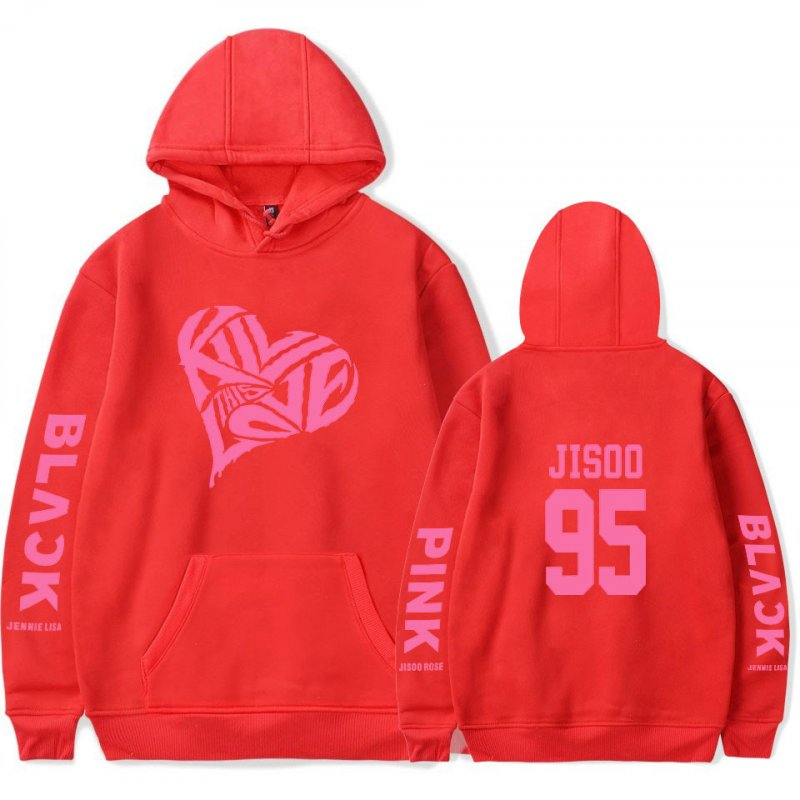 BLACKPINK 2D Pattern Printed Hoodie Leisure Pullover Top for Man and Woman red_M