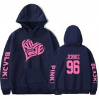 BLACKPINK 2D Pattern Printed Hoodie Leisure Pullover Top for Man and Woman Navy 2_M