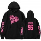 BLACKPINK 2D Pattern Printed Hoodie Leisure Pullover Top for Man and Woman Black 2 2XL