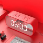 BT501 Portable Buletooth Speaker with Alarm Clock 5.0 Stereo Sound Speaker Digital Alarm Clock red
