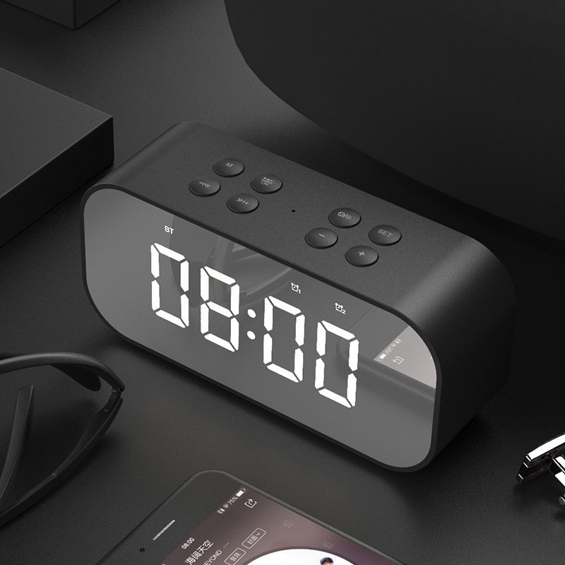 BT501 Portable Buletooth Speaker with Alarm Clock 5.0 Stereo Sound Speaker Digital Alarm Clock black