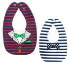 Baby Bib Feeding Bib Two-sided Waterproof Cartoon Printed Saliva Towel Baby Product Red and blue stripe