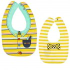 Baby Bib Feeding Bib Two sided Waterproof Cartoon Printed Saliva Towel Baby Product Yellow stripes