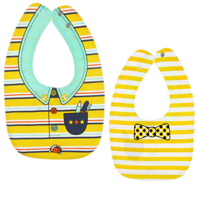 Baby Bib Feeding Bib Two-sided Waterproof Cartoon Printed Saliva Towel Baby Product Yellow stripes