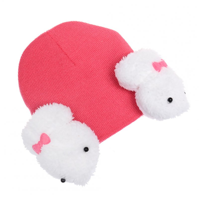 Baby Boy Girl Cartoon Dual Rabbit Ear Earmuffs Hat Warm Soft Knitted Cap rose red