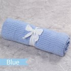 Baby Boys Girls Blanket Hollow Knitted Multi-functional Stroller Cover Soft Cotton Towel for Infant Sleeping blue_70*90